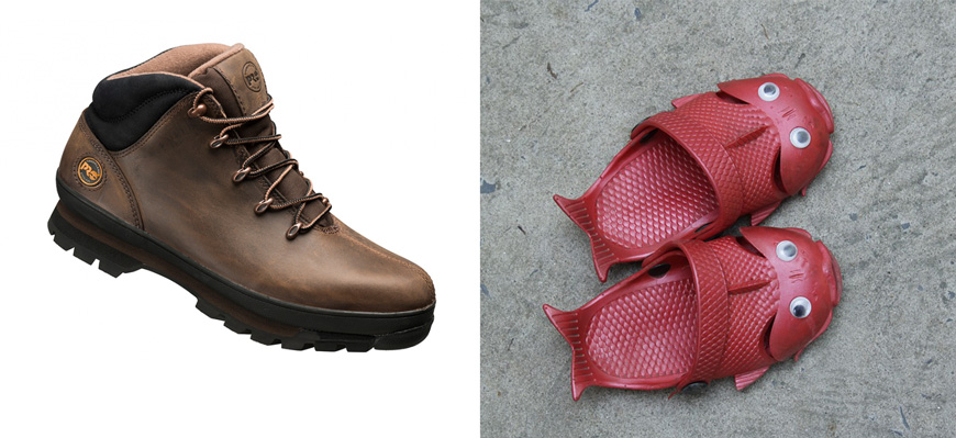 Une photo comparant les chaussures de sécurité Timberland Pro Splitrock et des tongs