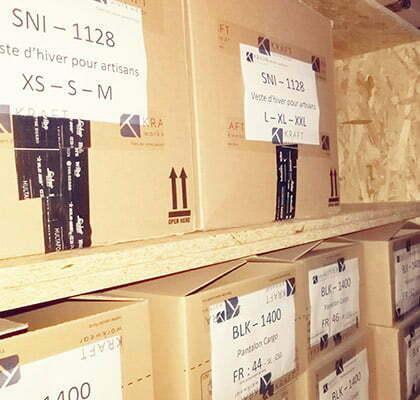 stock depot rangement produits chez kraft workwear