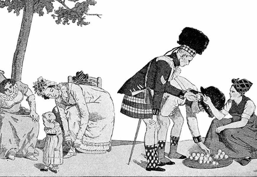 caricature representant un soldat en kilt ecossais devant des femmes europeennes