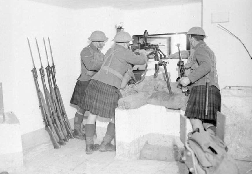 des soldats britanniques en France en 1939 portant le kilt
