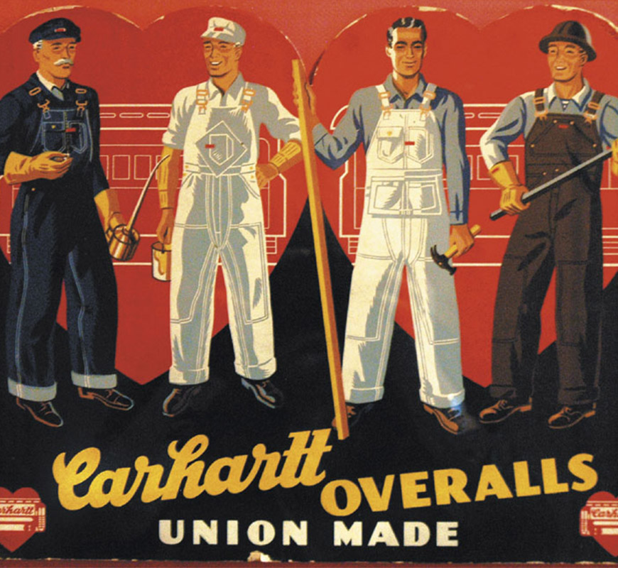 affiche carhartt overalls union made