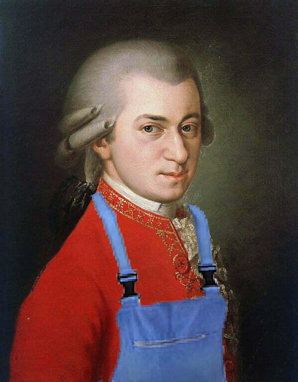 Mozart en salopette bleu